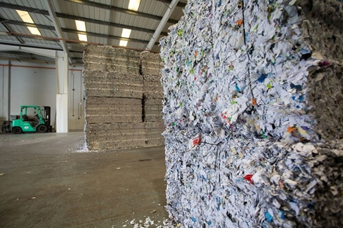 Stacks of shredded paper or recycling